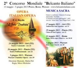 Belcanto Italiano 2013 w Warszawskiej Operze Kameralnej