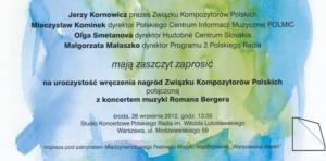 Uroczystość wręczenia Nagród Związku Kompozytorów Polskich z koncertem muzyki Romana Bergera