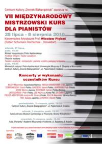 VII Międzynarodowy Mistrzowski Kurs dla Pianistów 2010
