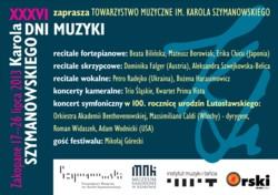 XXXVI Dni Muzyki Karola Szymanowskiego - Zakopane 17-27 lipca 2013