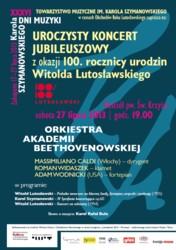 Koncert Jubileuszowy z okazji 100. rocznicy urodzin Witolda Lutosławskiego