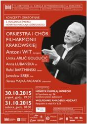Koncerty oratoryjne z okazji 5. rocznicy śmierci H.M. Góreckiego w Krakowie