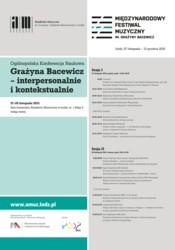 Grażyna Bacewicz - interpersonalnie i kontekstualnie
