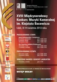 XVIII Międzynarodowy Konkurs Muzyki Kameralnej im. Kiejstuta Bacewicza 2013