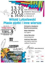 """Konkurs plastyczny """"Ptasie plotki i inne wiersze. Muzyka Witolda Lutosławskiego i wiersze Juliana Tuwima"""" – Katowice 2013"""