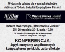Język muzyczny współczesnych kompozytorów polskich: autorefleksje
