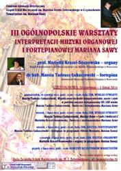 Ogólnopolskie warsztaty interpretacji muzyki organowej i fortepianowej Mariana Sawy