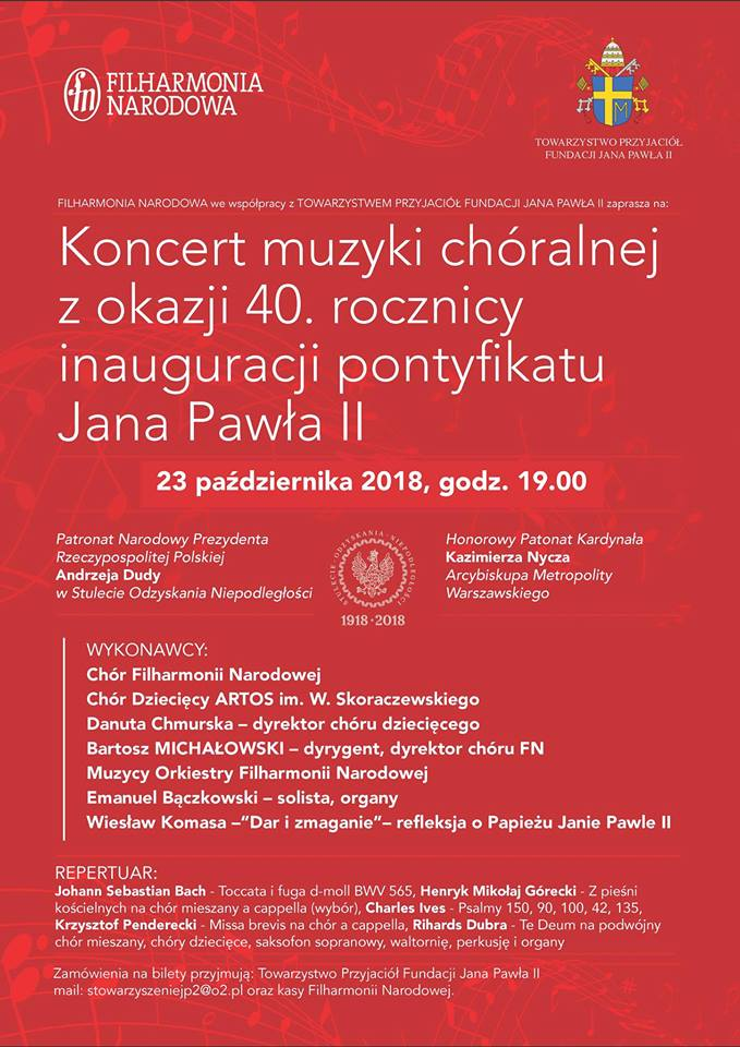 Warsaw | Choral Concert Marking on the 40th Anniversary of